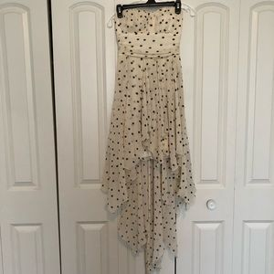 B. Darlin Strapless White & Black Polka Dot Dress